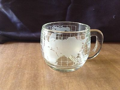 The Nestle Co. Inc. Clear Glass World Map Coffee Mug Cup Heavy