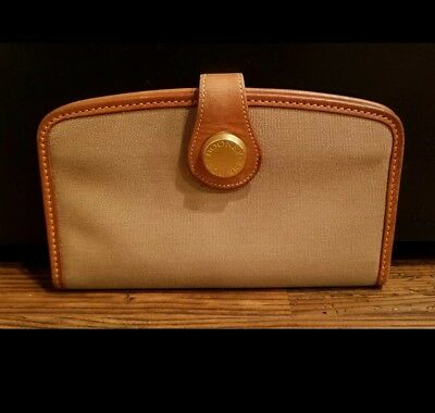 Dooney and Bourke RARE Vintage Wallet Tan Canvas Brown Leather