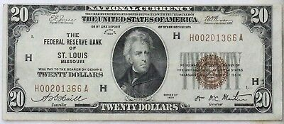 1929 $20 Federal Reserve Bank St Louis Vf++ Super Clean Problem Free Note!
