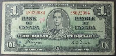 Canada 1937 One Dollar Note, Coyne/Towers, S/N8622984, Circulated