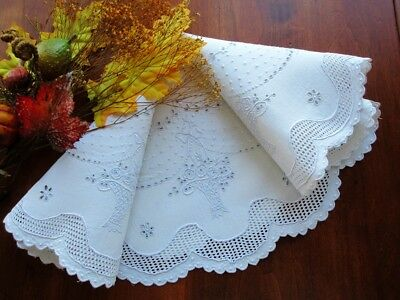 """Antique White Linen TABLECLOTH  CENTERPIECE Swiss Hand-Embroidered Lace 20"""""""