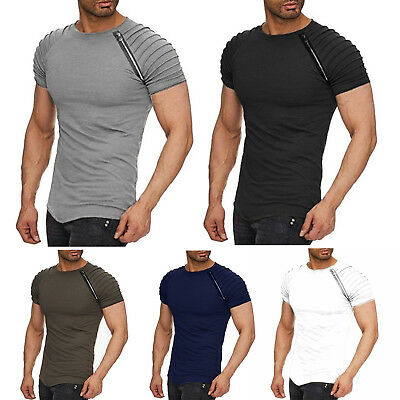 Mens Short Sleeve T-Shirt Slim Fit Casual Blouse Tops Fashion Cotton Muscle Tee