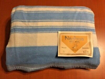 Rare Circa 1920s Part Wool Blanket Nashua Manufacturing Corp 66X80 W/ Store Tag