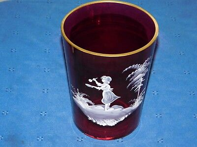 Mary Gregory Ruby Red Vase Gold Trim Rare Gorgeous Art Glass Elegant