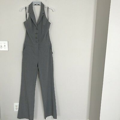 Womens Bebe Heather Gray Halter Pull On Button Down Jumpsuit Size 10
