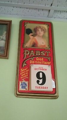 Vintage 1973 PABST BLUE RIBBON BEER Show Your Age Calendar Bar Advertising Sign