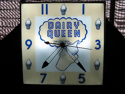 """Dairy Queen Lighted Advertising Pam Clock 15"""" Square Glass - Reproduction"""