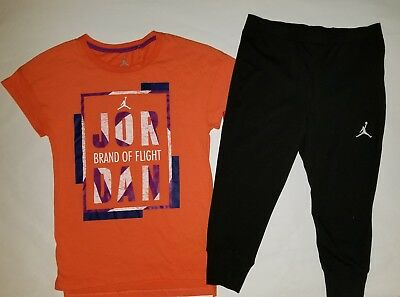 Nike Air Jordan Girls 2 PC Set Shirt Tee & Legging Capris Outfit Size Small
