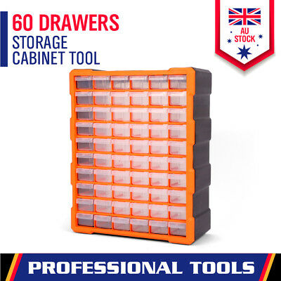 60-Drawer Tool Storage Bin Part Cabinet Box Chest Plastic Organiser With Divider