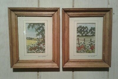 2 framed vintage Ann Harrison miniature embroideries