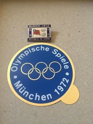 1972 MUNICH Olympic Games CHINESE NOC Pin Badge Republic of China OLYMPICS