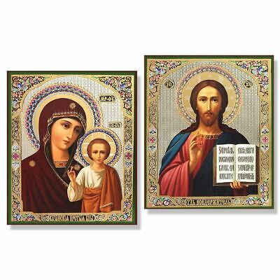 Pair of Christ The Teacher & Virgin Of Kazan Gold & Silver Foil Icon