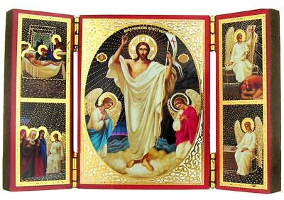 "Resurrection of Christ, Triptych Orthodox Icon Small 8 1/4"" x 6 3/4"""