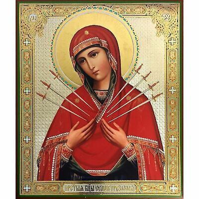 "Virgin Of Seven Swords Large Icon Gold Silver Foil Mounted on Wood 11 1/2""x9 1/2"