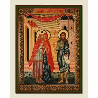 "CONCEPTION OF ST JOHN THE BAPTIST Orthodox Icon 4 1/4"" x 3 1/2"""