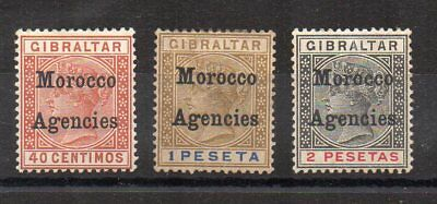 Morocco Agencies 1899 40c, 1p and 2p Gibraltar opt values MLH/MH