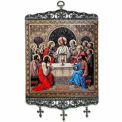 """Last Supper Large Size Tapestry Icon Banner W/Crosses 13 1/2""""x8"""""""