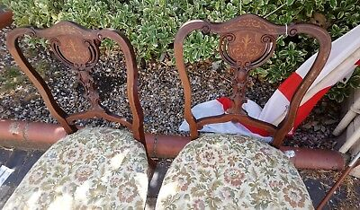 Pair Of Antique Edwardian Inlaid Chairs, Bedroom Chairs