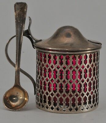 ANTIQUE STERLING SILVER MUSTARD POT JAR & SPOON with CRANBERRY GLASS LINER