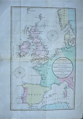 An extremely rare map Great Britain and Ireland France Spain c1801