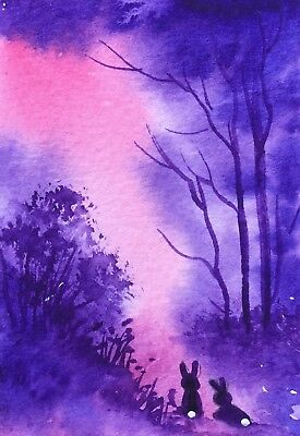 Original Art small ACEO painting watercolour Purple Forest by Pamela West