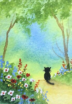 Original Art small ACEO painting watercolour Cat in the Woodland by Pamela West
