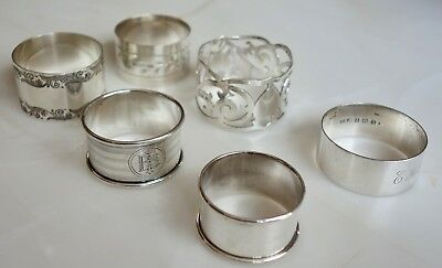 6 x VINTAGE SOLID SILVER NAPKIN-SERVIETTE RINGS - 4.5 ounces scrap silver