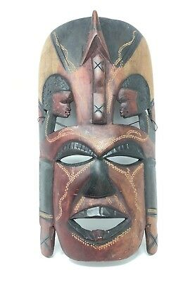 Tribal Art Mask Wood Hand Carved In Kenya Wall Hanging Plaque Decoration