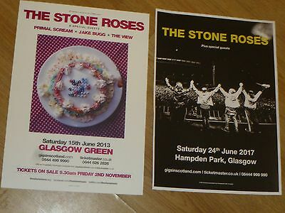 The Stone Roses live music Scottish tour Glasgow concert gig posters x 2