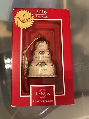 "NEW IN BOX,Lenox 2016 Our First Christmas Together 3"" Cake Ornament"