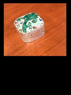 Vintage Silver and Enamel Pill Trinket Snuff Box