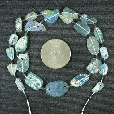 Ancient Roman Glass Beads 1 Medium Strand Aqua And Green 100 -200 Bc 924