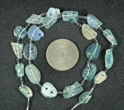Ancient Roman Glass Beads 1 Medium Strand Aqua And Green 100 -200 Bc 926
