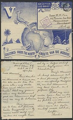 South Africa WWII 1944 - Illustrated Field post air Letter - Censor 23468