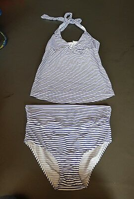 Jojo Maman Bebe blue striped maternity tankini size medium