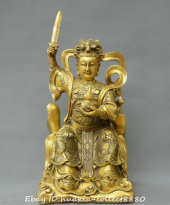 Chinese FengShui old bronze Queen Mother of the beautiful woman West god statue