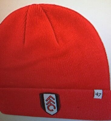 09d34bef10e93 47 BRAND OFFICIAL Fulham Fc Raised Cuff Knit Red Beanie Hat - £8.99 ...