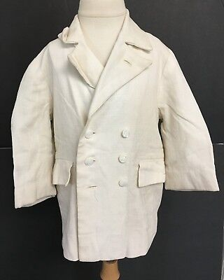 Vintage White Linen Boys Lined Blazer Jacket With Mother of Pearl Buttons