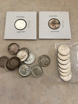 Lot of 24 Silver Roosevelt Dimes - Includes Proofs & BU - 90% Silver - FREE S/H