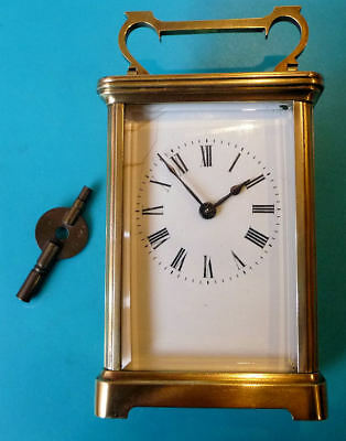 Antique French Carriage Clock - Brass Case Bev Glass + Box - SEE 12 PICS + VIDEO