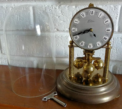 Vintage Kern Anniversary Torsion Clock With Glass Dome + Key -See 6 Pics + Video
