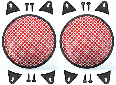 "2X Red 12"" inch Sub Woofer Speaker Mesh WAFFLE GRILLS Protective Covers VWLTW"