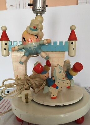 Vintage Baby Lamp Musical Lullaby Wooden Humpty Dumpty Castle Soldiers Rotates