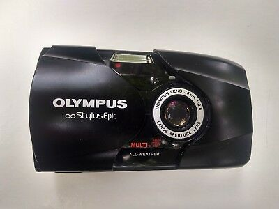 Olympus Stylus Epic w/35mm f/2.8 lens P&S Film Camera. Classic black.