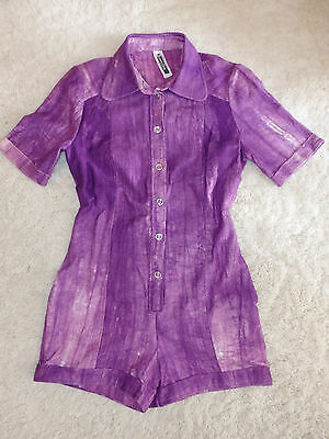 Vintage 70er Jumpsuit Playsuit Overall Neu Old Stock Violett Weiss Lila 34 36