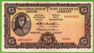 Ireland  1961  **  Dark  Mulberry   £5  Lady  Lavery  Banknote