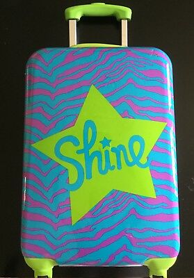 justice brand shine girls hard shell rolling suitcase, zebra pattern