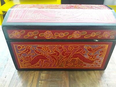 "Mexican Folk Art 8"" chest baul small box"