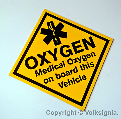 Medical Oxygen on Board this Vehicle with SOL - Magnetic Vehicle Sign