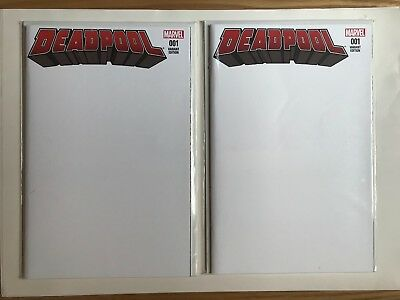 Marvel DEADPOOL #1 BLANK SKETCH COVER VARIANT HTF X 2 COPIES